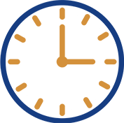 blue and gold clock icon