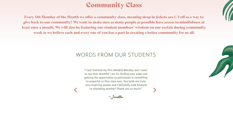 yoga class web design