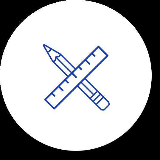 blue drawing tools