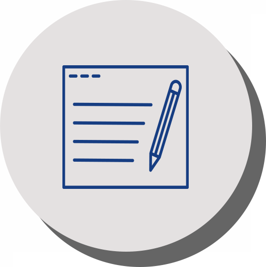 pen and paper icon blue