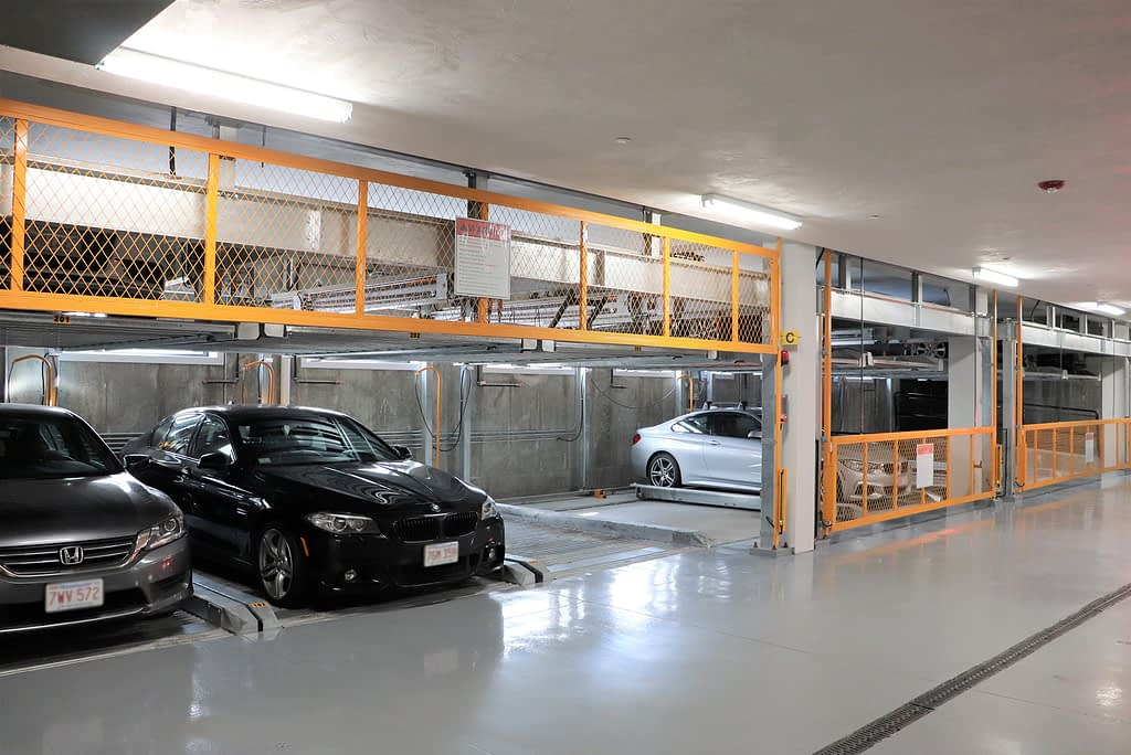 cars in automated parking structure