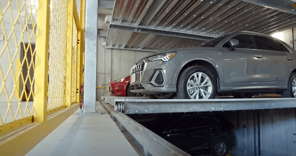 cars in automated parking lift solution